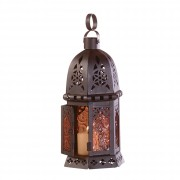 Candle Lantern-Amber Glass
