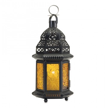 Candle Lantern - Yellow Glass
