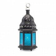 Candle Lantern-Blue Glass
