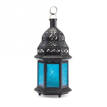 Candle Lantern-Blue Glass