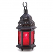 Candle Lantern-Red Glass