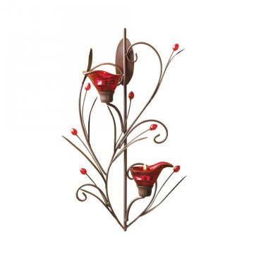 Tealight Sconce-Ruby Blossom