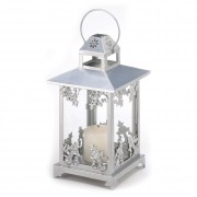 Candle Lantern-Silver Scrollwork